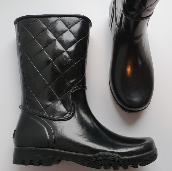 Black Quilted Rubber Rain Boots | Poshmark